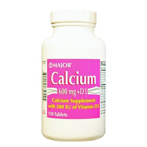 MAJOR CALCIUM 600mg + D3, WITH 200IU OF VITAMIN D3 (60 TABLETS)