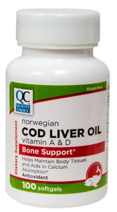 QC NORWEGIAN COD LIVER OIL, VITAMIN A & D, BONE SUPPORT - 100 SOFTGELSELS