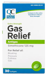 QC EXTRA STRENGTH GAS RELIEF, SIMETHICONE 125mg (30 Softgels)