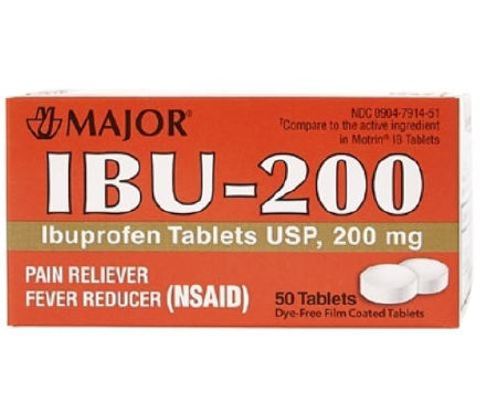 MAJOR IBU-200 IBUPROFEN TABLETS USP, 200mg, PAIN RELIEVER & FEVER REDUCER (500 Tablets)