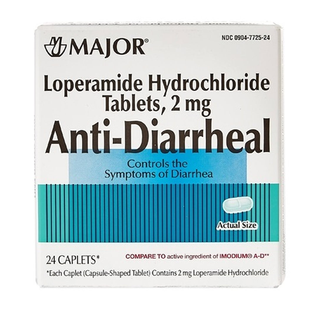 MAJOR LOPERAMIDE HYDROCHLORIDE TABLETS, 2MG ANTI-DIARRHEAL (24 Caplets)