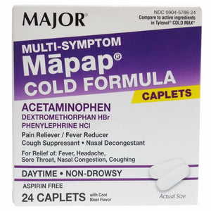MAJOR MAPAP COLD FORMULA CAPLETS, NON DROWSY, DAYTIME, ASPIRIN FREE (24 Caplets With Cool Blast Flavor)