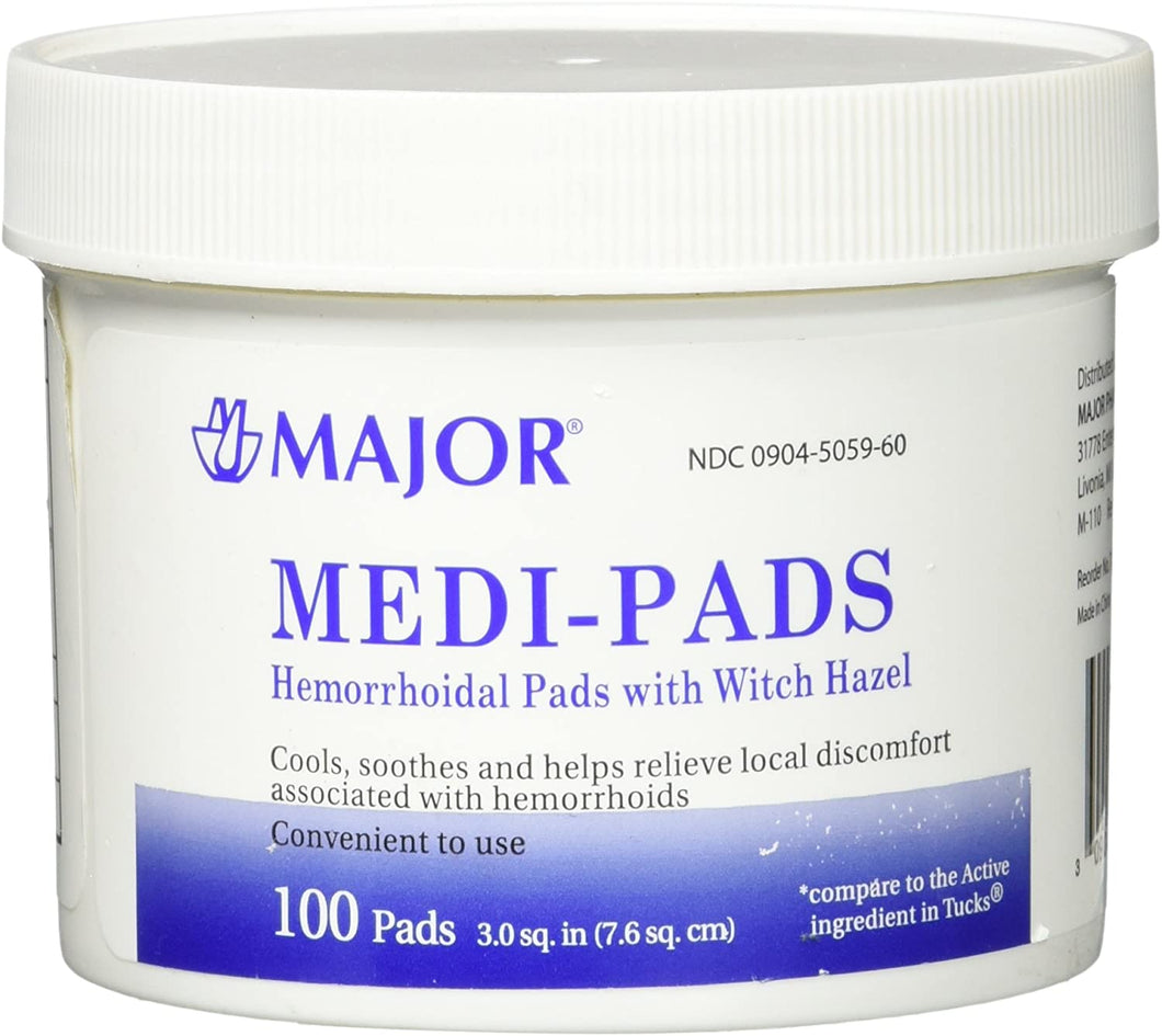 MAJOR MEDI-PADS, HEMORRHOIDAL PADS WITH WITH HAZEL (100 Pads)