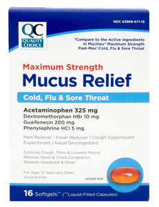 QC MAXIMUM STRENGTH MUCUS RELIEF, COLD, FLU & SORE THROAT, 16 SOFTGELS