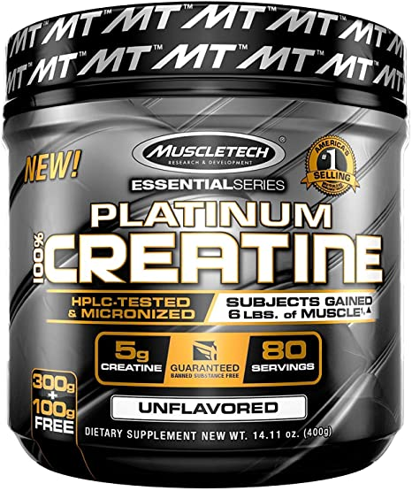 MUSCLETECH ESSENTIAL SERIES 100% PLATINUM CREATINE DIETARY SUPPLEMENT UNFLAVORED (400g)