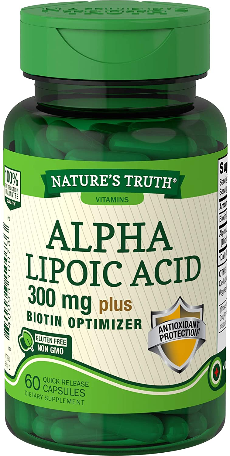 NATURES TRUTH ALPHA LIPOIC ACID 300mg + BIOTIN OPTIMIZER (60 Quick Release Capsules)