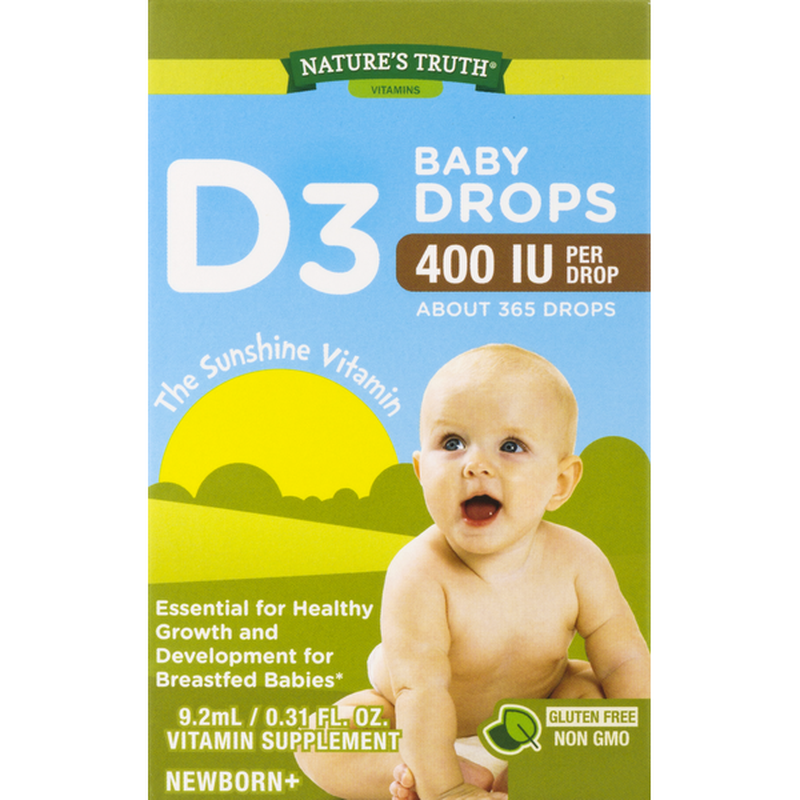 NATURES TRUTH D3 BABY DROPS 400IU PER DROP, VITAMIN SUPPLEMENT (9.2ml)