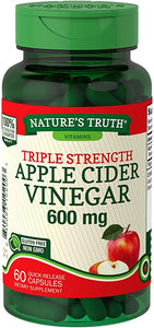NATURES TRUTH APPLE CIDER VINEGAR 600mg, TRIPLE STRENGTH (60 Quick Release Capsules)