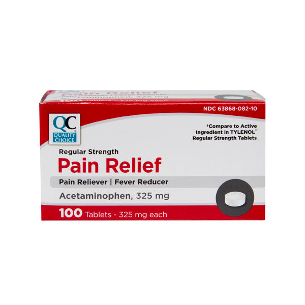 QC REGULAR STRENGTH PAIN RELIEF ACETAMINOPHEN 325MG (100 Tablets)
