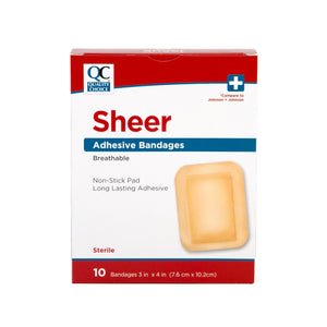 QC SHEER ADHESIVE BANDAGES, BREATHABLE, STERILE (10 Bandages)