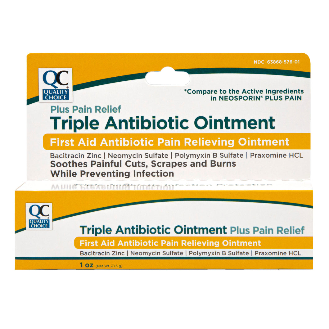QC MAXIMUM STRENGTH TRIPLE ANTIBIOTIC OINTMENT, PLUS PAIN RELIEF - FIRST AID ANTIBIOTIC (1oz)