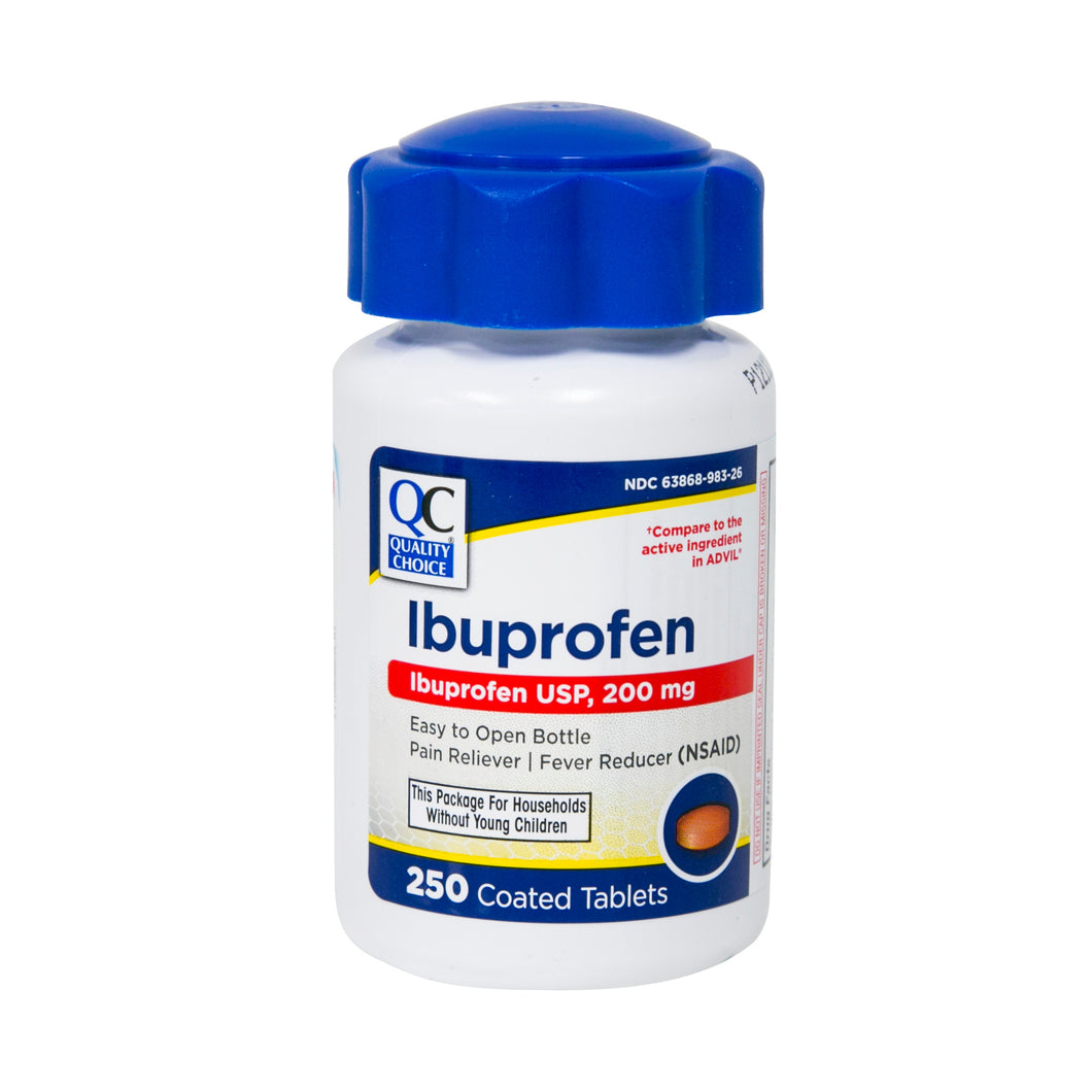 QC IBUPROFEN USP 200mg PAIN RELIEVER/ FEVER REDUCER (250 COATED TABLETS)