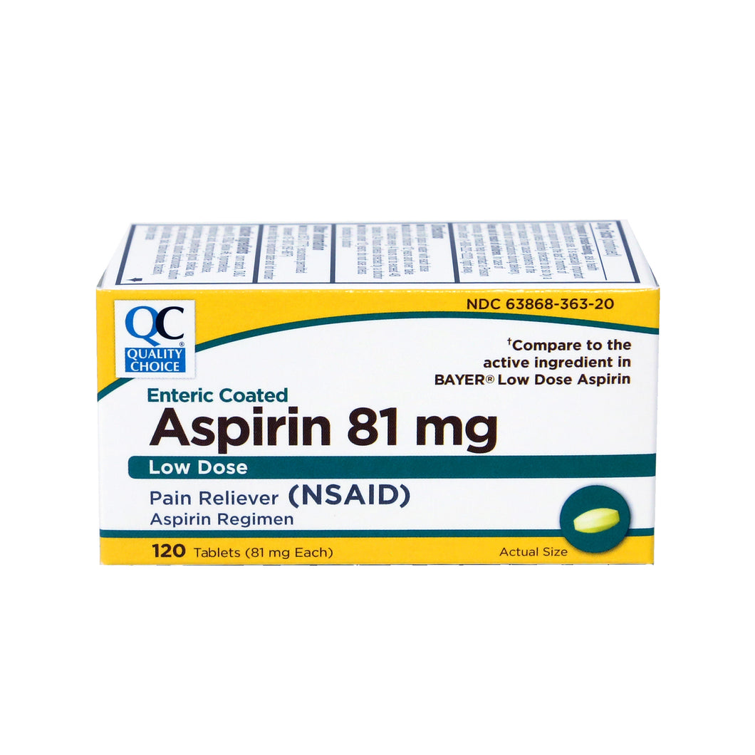 QC ASPIRIN 81mg, LOW DOSE PAIN RELIEVER (120 Tablets)