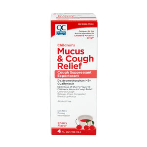 QC CHILDREN'S MUCUS & COUGH RELIEF, COUGH SUPPRESSANT EXPECTORANT, CHERRY FLAVOR (118ml)