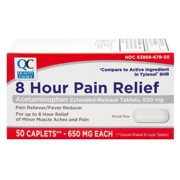 QC 8 HOUR ACETAMINOPHEN 650mg MUSCLE ACHES AND PAIN (50 Caplets)
