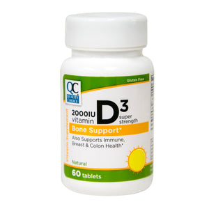 QC 50MCG VITAMIN D3 2000IU SUPER STRENGTH, FOR BONE SUPPORT (60 TABLETS)