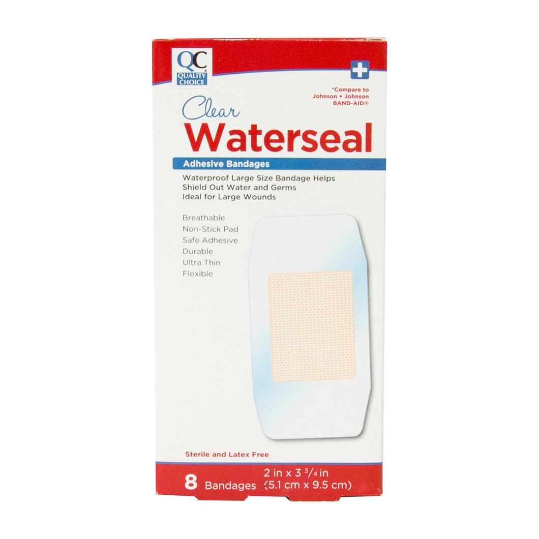 QC CLEAR WATERSEAL ADHESIVE BANDAGES (8 Bandages)