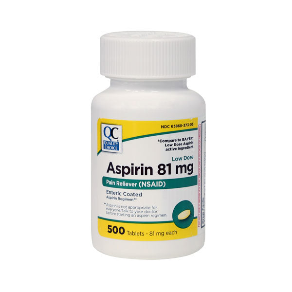 QC ASPIRIN 81mg, LOW DOSE PAIN RELIEVER (500 Tablets)