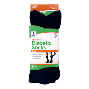 QC SEAMLESS TOE DIABETIC SOCKS, CREW