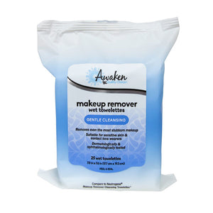 QC AWAKEN MAKEUP REMOVER, WET TOWELETTES, GENTLE CLEANSING (25 Wet Towelettes)