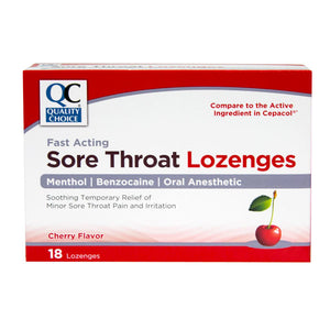 QC SORE THROAT LOZENGES, FAST ACTING, MENTHOL/ BENZOCAINE, CHERRY FLAVOR (18 Lozenges))