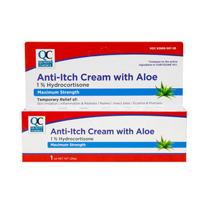 QC ANTI - ITCH CREAM WITH ALOE, MAXIMUM STRENGTH - (28g)