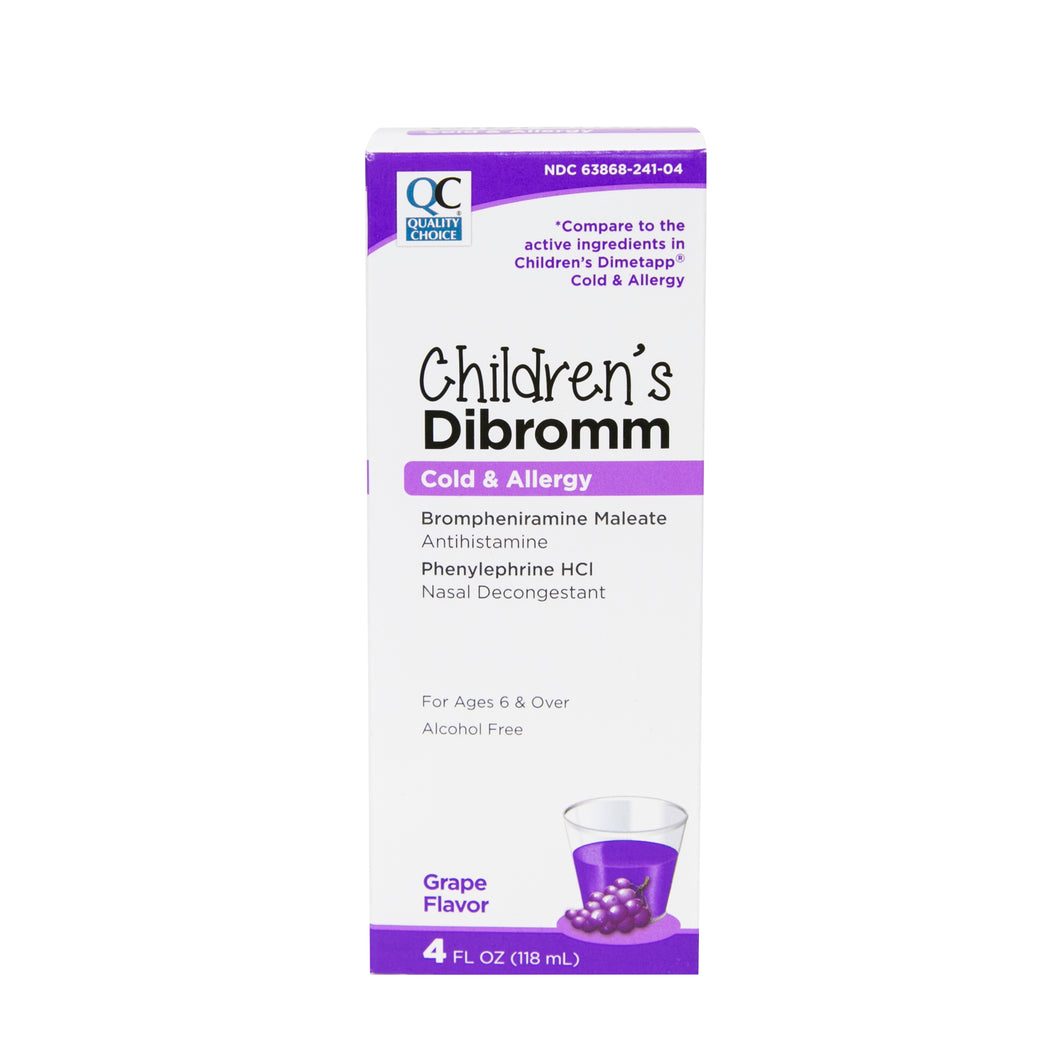 QC CHILDREN'S DIBROMM, COLD & ALLERGY, ANTIHISTAMINE & NASAL DECONGESTANT, GRAPE FLAVOR (118ml)