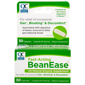 QC FAST ACTING BEANEASE, ALL NATURAL ENZYME SUPPLEMENT - 30 CAPSULES