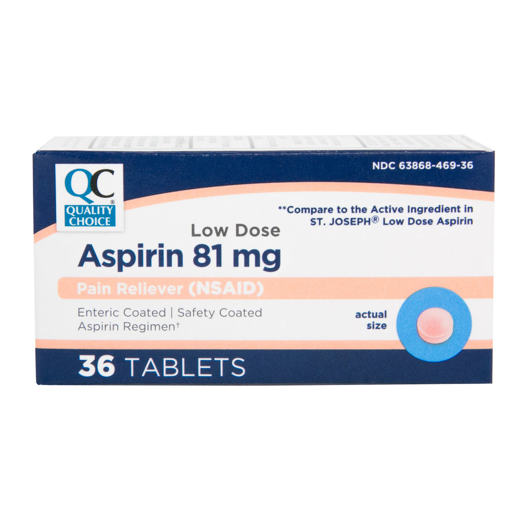 QC ASPIRIN 81mg, LOW DOSE PAIN RELIEVER (3 Enteric Coated Tablets)