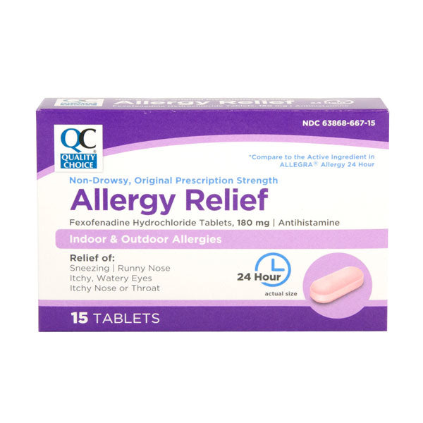 QC NON - DROWSY ALLERGY RELIEF, FEXOFENADINE HYDROCHLORIDE TABLETS 180mg - 15mg