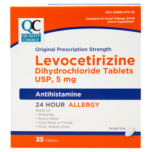QC LEVOCETIRIZINE DEHYDROCHLORIDE TABLETS USP, 5mg, ANTIHISTAMINE, ALLERGY RELIEF - 35 TABLETS