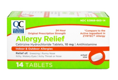 QC ALLERGY RELIEF, CETIRIZINE HYDROCHLORIDE TABLETS 10MG, ANTIHISTAMINE (14 TABLETS)