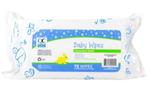 QC BABY WIPES UNSCENTED REFILL - 72 WIPES