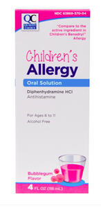 QC CHILDREN'S ALLERGY, ORAL SOLUTION, DIPHENHYDRAMINE HCI 12.5mg (118ml)