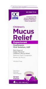 QC CHILDRENS MUCUS RELIEF, EXPECTORANT, GUAFINESIN ORAL SOLUTION, GRAPE FLAVOR (118ml)