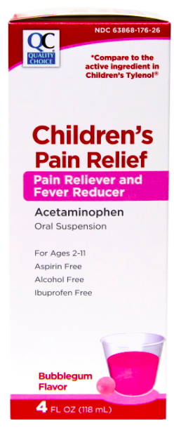QC CHILDREN'S PAIN RELIEF PAIN RELIEVER AND FEVER REDUCER, ACETAMINOPHEN, BUBBLE GUM FLAVOR - 118ml