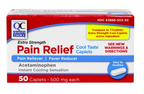 QC EXTRA STRENGTH PAIN RELIEF COOL TASTE CAPLETS, ACETAMINOPHEN - 50 CAPLETS