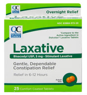 QC GENTLE LAXATIVE, BISACODYL USP 5mg (25 Comfort Coated Tablets)
