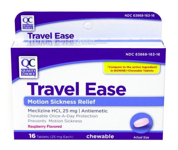 QC TRAVEL EASE, RASPBERRY FLAVOR - 16 CHEWABLE TABLETS
