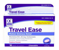QC TRAVEL EASE, RASPBERRY FLAVOR (16 Chewable Tablets)