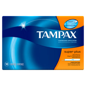 TAMPAX CARDBPARD APPLICATOR, SUPER PLUS, UNSCENTED (10 Tampons)