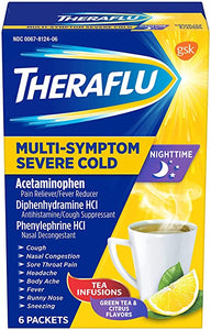 THERAFLU MULTI-SYMPTOM SEVERE COLD NIGHTTIME, TEA INFUSIONS, GREEN TEA & CITRUS FLAVORS - 6 PACKETS