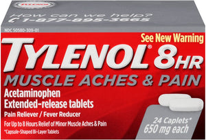 TYLENOL 8HR MUSCLE ACHE & PAIN ACETAMINOPHEN 850mg EXTENDED RELEASE PAIN RELIEVER/ FEVER REDUCER - 24 CAPLETS