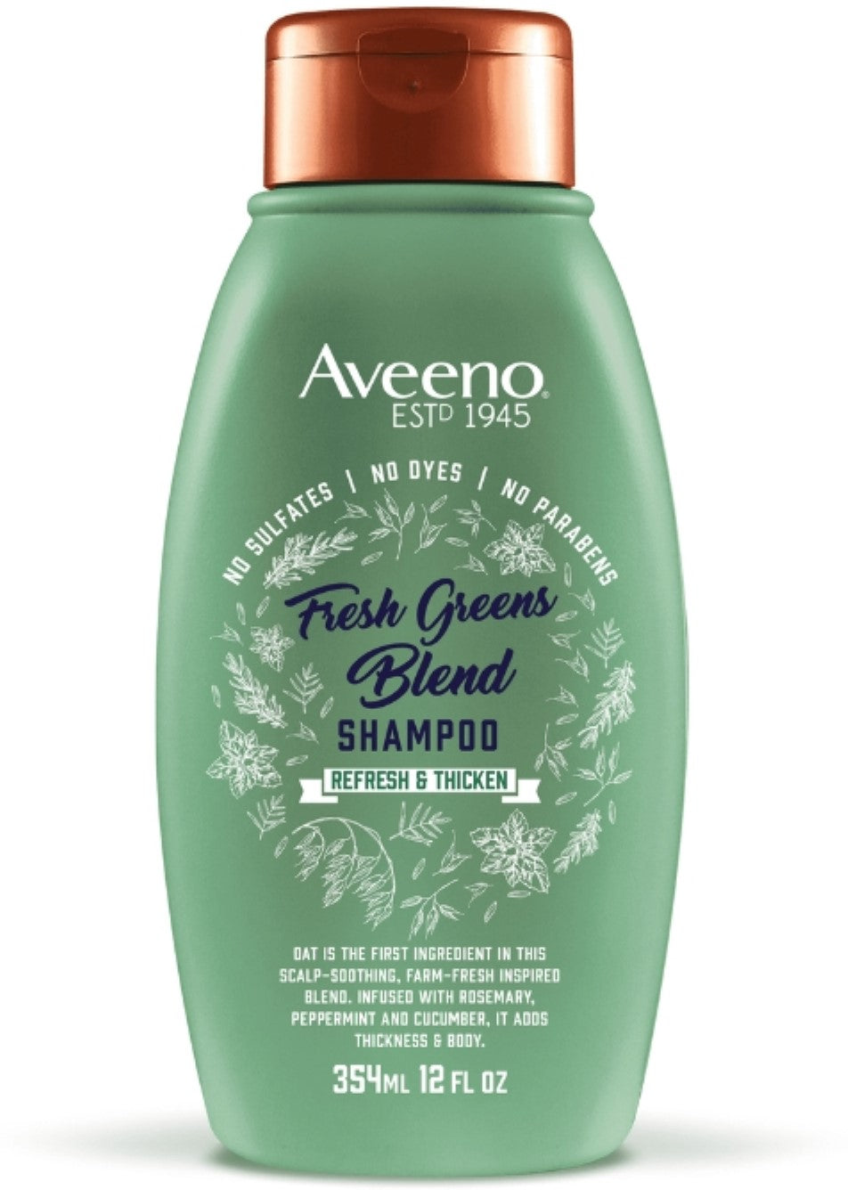 AVEENO SCALP SOOTHING FRESH GREENS BLEND SHAMPOO, WITH ROSEMARY & PEPPERMINT (12 Fl Oz)