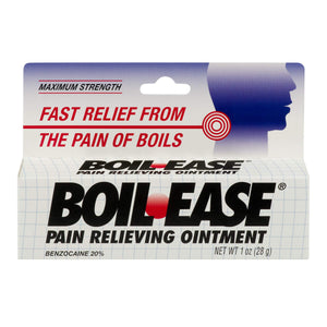 MAXIMUM STRENGTH BOIL. EASE PAIN RELIEVING OINTMENT, BENZOCAINE 20% (28g)