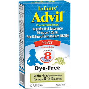 INFANTS ADVIL, IBUPROFEN ORAL SUSPENSION, 50mg PER 1.25ml, PAIN RELIEVER/ FEVER REDUCER, DYE FREE (15ml)