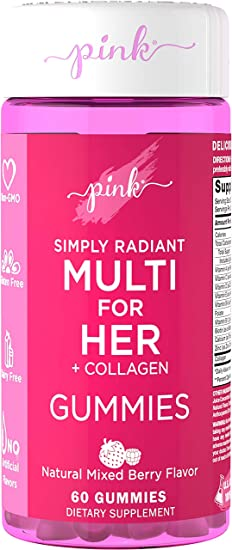 PINK SIMPLY RADIANT MULTI FOR HER + COLLAGEN GUMMIES (60 Gummies)