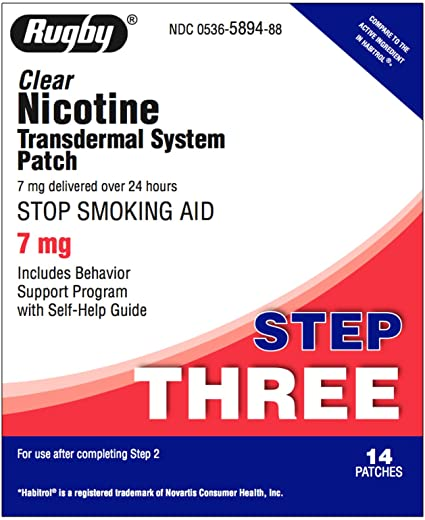 RUGBY NICOTINE PATCH, TRANSDERMAL SYSTEM PATCH, STOP SMOKING AID - 7 PATCHES