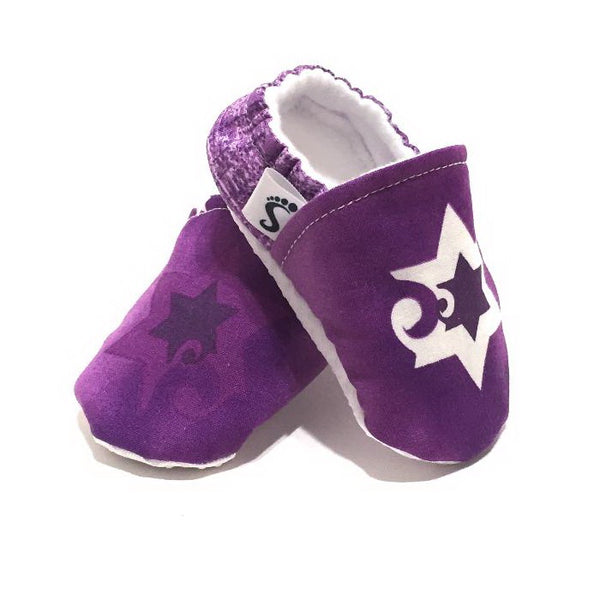 Modern Star of David Soft Sole Baby Shoes (Purple)