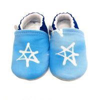 Star of David Soft Sole Baby Shoes (Light Blue)